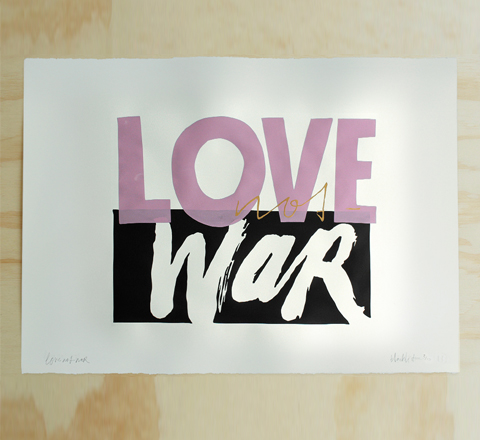 The Minimalist x Blacklist love not war limited edition screenprint