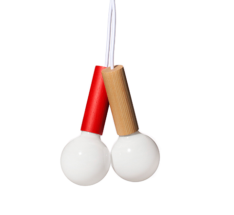 The Minimalist x Esaila Cherry pendant lights cluster red and natural
